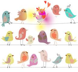 set with cute birds