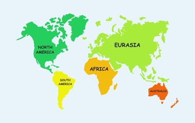 Map of the world, continents