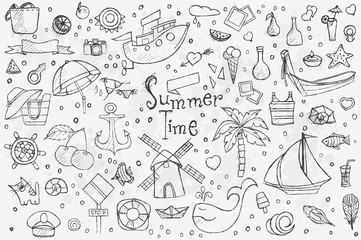 A big hand-drown set on white background of summer doodles with black outlines