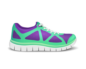 Realistic bright sport shoes for running. Vector illustration