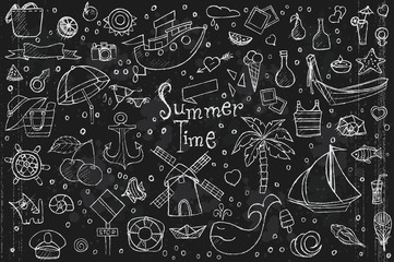 A large set of hand-drawn doodles summer, elements and objects.