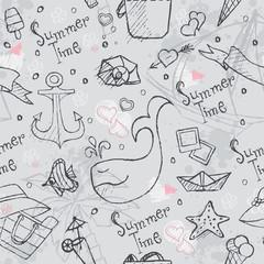 Seamless texture of summer vector hand-drawn doodles