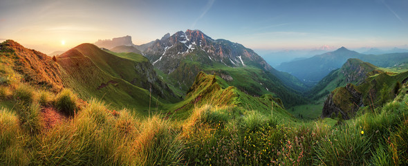Canvas Prints Hill Mountain sunrise panorama in Dolomites, Passo Giau