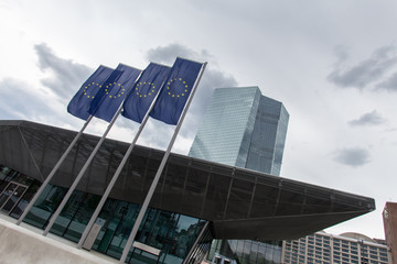 new european central bank in frankfurt germany with europe flags