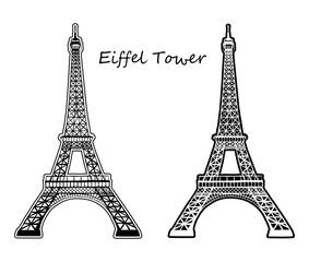 EIFFEL TOWER silhouette and outline vector