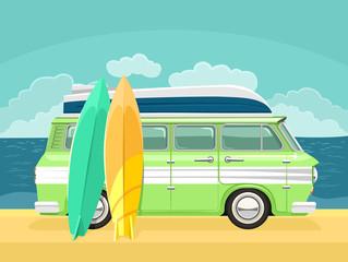 Vector travel bus flat cartoon illustration