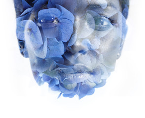 woman's face double exposure with flowers