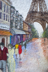 wall with street art graffiti of Paris street and Eiffel tower
