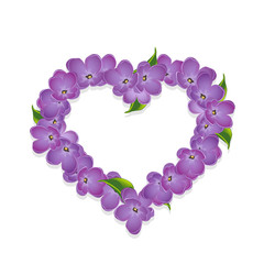 Floral heart with lilac flowers. Vector, EPS 10