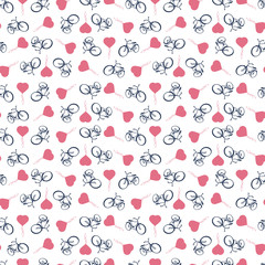 Sporty, tourist, seamless background with bicycles and heart balloons