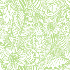 Seamless pattern in Doodle style in light green color.