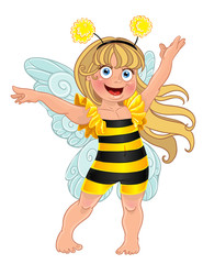 Small girl in carnival suit bee