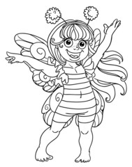 Small girl in carnival suit bee black outline for coloring