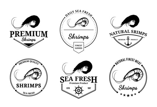 Shrimps Logos, Labels and Design Elements