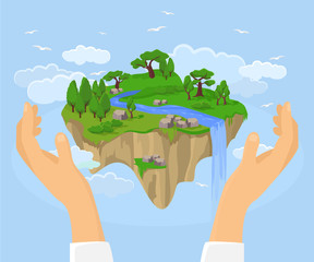 Ecology concept. Vector flat illustration
