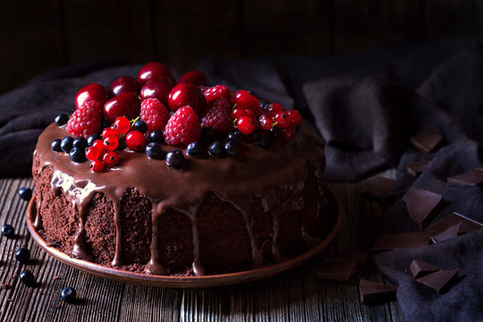 Traditional homemade chocolate cake sweet pastry dessert with