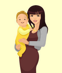 Young woman mother with baby. Vector flat illustration