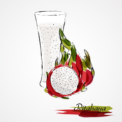 Hand drawn vector red ripe pitahaya, dragonfruit fruit and juice in glass on light background