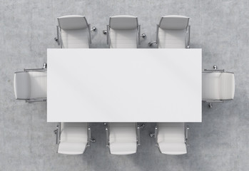 Top view of a conference room. A white rectangular table and eight chairs around. 3D interior.