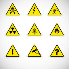 Warning signs vector.