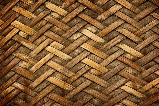 Brown woven bamboo close up texture