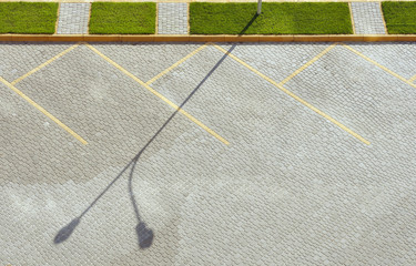 Pavement empty parking lot. View from above.