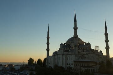 Sultan Ahmet mosque at sunset with a view to the Sea of Marmara, Istanbul, Turkey
