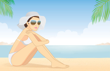 Bikini women wear sunglasses and hat for protection skin relax on beach of the sea