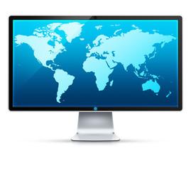 Ikona monitora z mapą świata