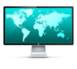 Ilustracja monitora z mapą świata