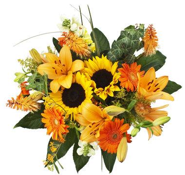 herbstlicher Blumenstrauß mit Lilien, Sonnenblume, Efeu