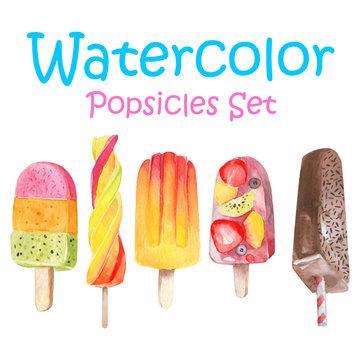 Vector watercolor icecream popsicle set