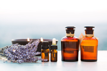 Spa oils in bottles with lavender