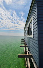 Wooden pier or jetty, sea and cloudscape at Busselton Australia