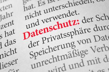 Wörterbuch mit dem Begriff Datenschutz