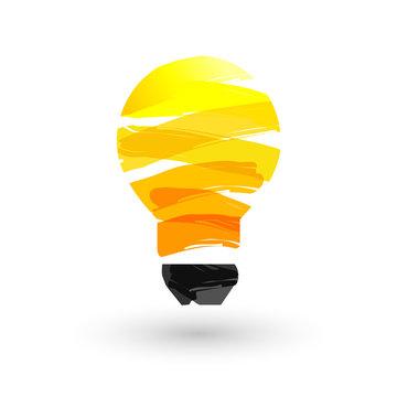 Yellow lightbulb made of paint stroke