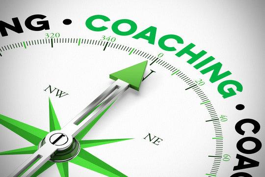 Pfeil von Kompass zeigt auf Coaching