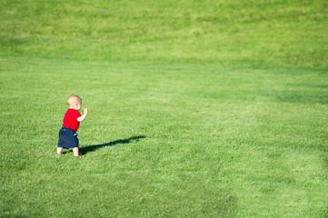 Little baby boy walking in a field.