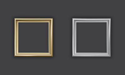 Silver and gold picture frame, square, vector