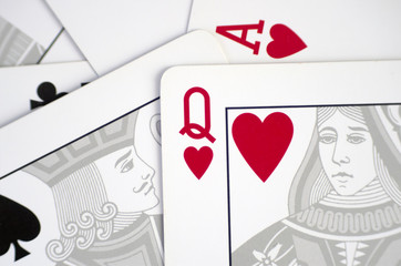 Close up of classic playing cards with love concept massage.