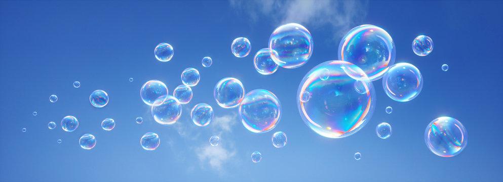 Seifenblasen vor blauem Himmel 2