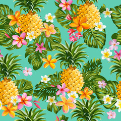 Pinapples and Tropical Flowers Background -Vintage Seamless Pattern