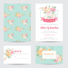 Invitation or Greeting Card Set - for Wedding, Baby Shower