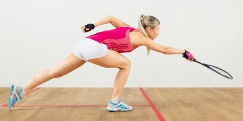Squash, player, court.