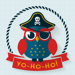 Pirate owl. Vector card.