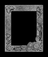 antique gray frame isolated on black background, clipping path,