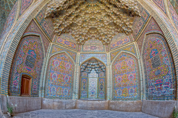 Nasir al-Mulk Mosque decoration fisheye view