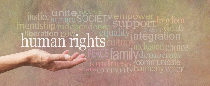 Human Rights is in Our Hands campaign banner - female's open palm with the words 'human rights' above surrounded by a relevant word cloud on a wide stone effect background