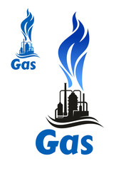 Industrial plant with natural gas flame