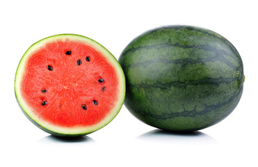 Ripe water melon on white background